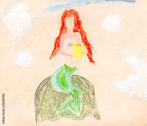 child's paiting - siren on the rock