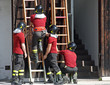 exercise and training of firefighters in the fire station with w