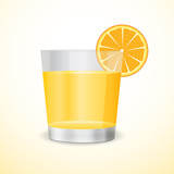 Glass with orange juice and an orange segment