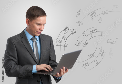 musician with laptop. multimedia concept