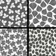 Leafs pattern black white seamless wallpaper