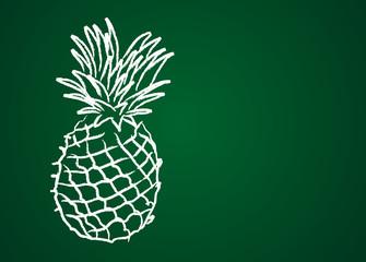 Fruit dessiné sur une ardoise verte : ananas