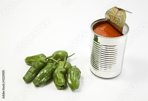 Can of tomato and peppers