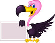 cute Vulture cartoon with blank sign