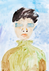 child's painting - man in blue glasses