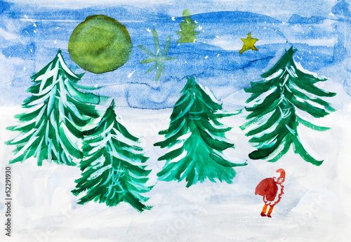 child's paiting - winter forest and Santa Claus