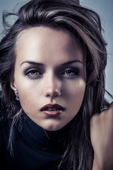 sensual glamour portrait of a beautiful female woman