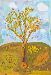 child's paiting - falling leaves from autumn tree