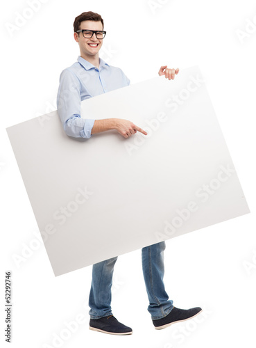 Young man with blank whiteboard