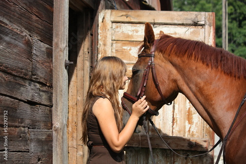 Portrait of teenage girl and chestnut horse near the wooden stab