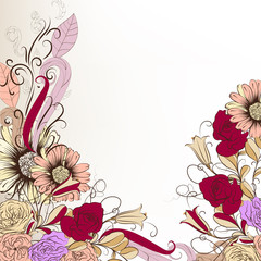 Cute hand drawn background with flowers in pastel colors
