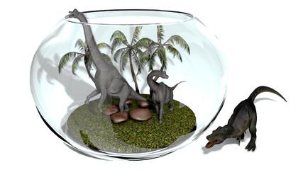 Dinosaurs in an aquarium