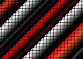 Music mosaic horizontal red background.