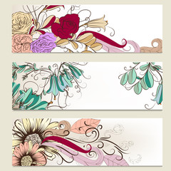 Vector set of horizontal business banners with flowers