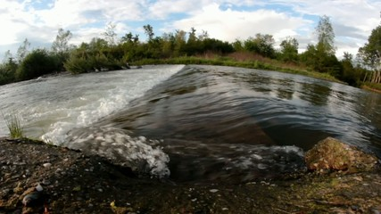 flowing river in fish eye view