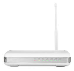 Wireless router on white with clipping path