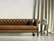 Brown leather classic vintage chedterield sofa living room
