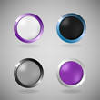 Set of four colorful buttons on grey background.