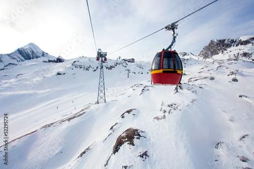 Leinwanddruck Bild Cable car going to Kitzsteinhorn peak