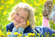 canvas print picture - smiling girl in the spring- meadow