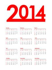 special red calendar for 2014