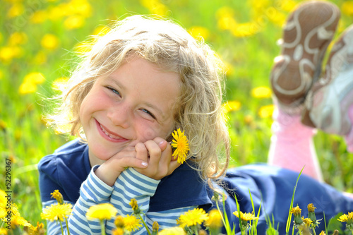 canvas print picture smiling girl in the spring- meadow