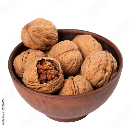 Walnuts in ceramic bowl