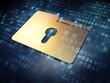 Business concept: Golden Folder on digital background