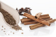 Cinnamon, cumin and cloves, isolated