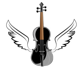 Violin with wings on white background