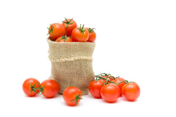 ripe tomatoes isolated on white background