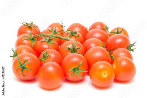 cherry tomatoes close-up. white background.