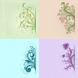 4 flower vintage color vector cards with copy space.