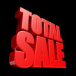 Total Sale 3D letters render isolated on black