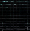 Black glass cubes wall background.