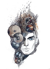man's head with gears