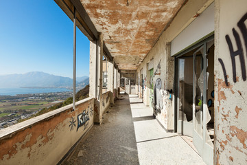 old destroyed building, corridor with windows