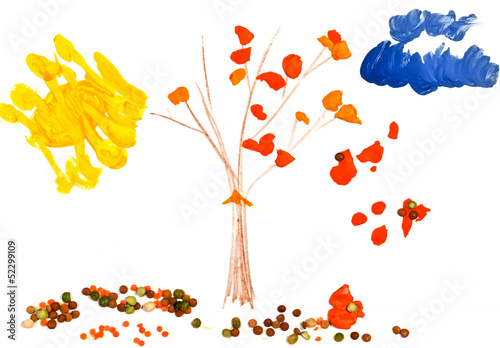 child's drawing - autumn tree