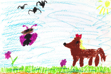 child's drawing - fox, butterfly and flying birds