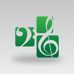 Symbole Clef de Sol et Fa - Vert foncé