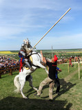 KHOTYN-MAY 10: Knight on bucking horse, 2013, Ukraine