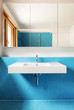 house modern design, interior, blue bathroom