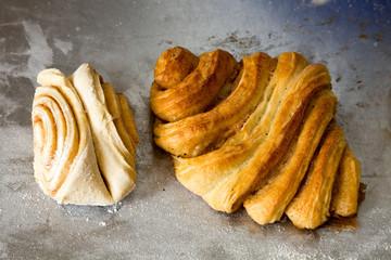 Herstellung von Franzbrötchen in einer Bäckerei