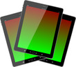 Photo-realistic illustration of vertical tablet pc set