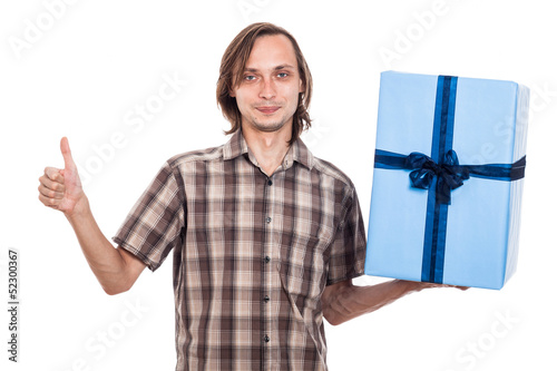 Happy man with big present