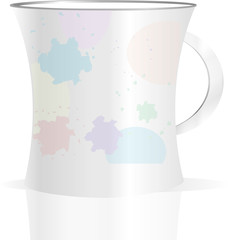 Used creamy coffee mug with blots on white background