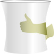 Coffee cup symbol in human hand. Coffee like concept