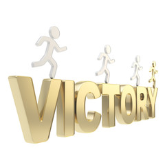 Human running symbolic figures over the word Victory