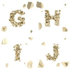 Abc alphabet symbol broken into tiny glossy pieces