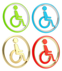 Disabled handicapped person icon emblem